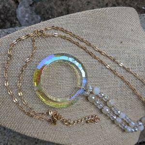 Long Aurora Borealis Crystal Necklace